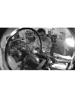 Wheels being finished by Mr Hao-Cheng at Hunt's wheel building partner