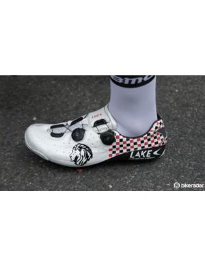 BMC Racing's Silvan Dillier wears a custom pair of Lake CX402