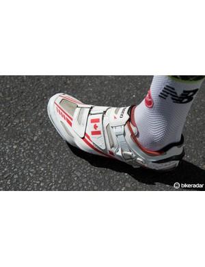 2012 Giro winner Ryder Hesjedal wears a custom-coloured pair of Shimano