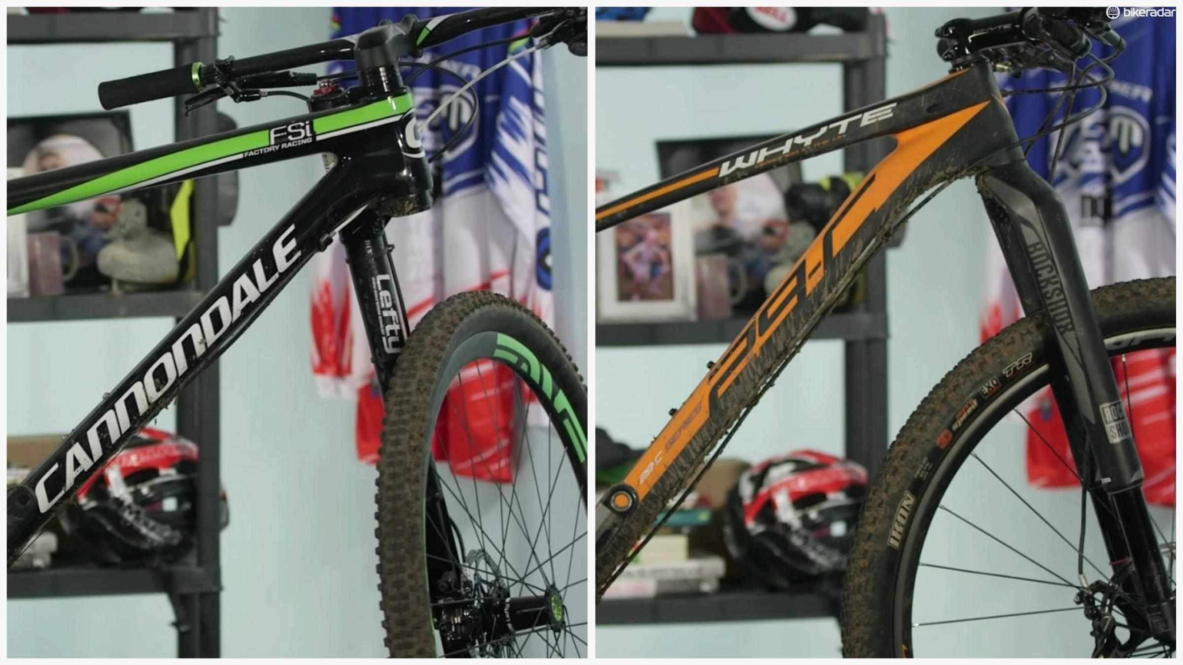 Tom Marvin and Jon Woodhouse take a look at the Cannondale F-Si Team and Whyte 29C Team cross-country race bikes