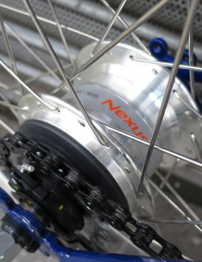 The Shimano Nexus rear hub gives seven gears at the twist of the grip shifter