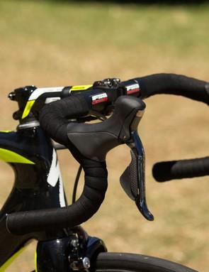 Rogers rides an alloy traditional bend FSA handlebar
