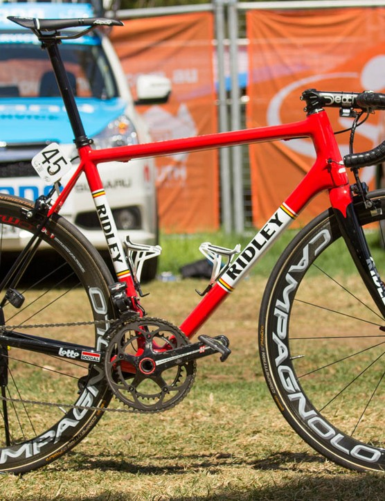 Lotto-Soudal's Adam Hansen is still on the Ridley Helium SL. It has new paint, but otherwise is pretty much the same since last year
