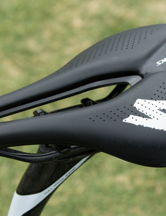 Astana's Lars Boom is riding this new Specialized S-Works Power saddle. It may look strange, but the former cyclo-cross world champion seems to like it