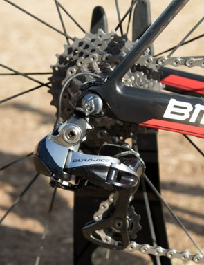 Shimano Dura-Ace Di2 features on Dennis' bike –note the neat Di2 wire exit point