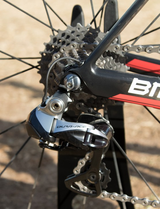 Shimano Dura-Ace Di2 features on Dennis' bike – note the neat Di2 wire exit point