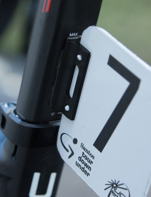 A flat surface to the BMC 'Ace' seatpost means number plates can be stuck on
