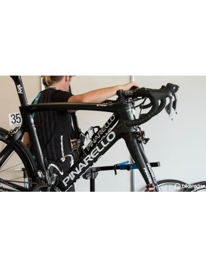 Working on bikes at the Tour Down Under can get a little cramped
