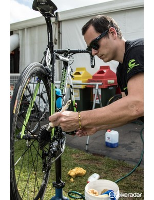 Bikes are cleaned and drivetrains lightly degreased every day