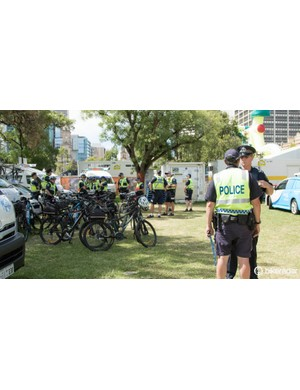 Dressed just like Tinkoff-Saxo, some of the police help control the race courses while on bicycles