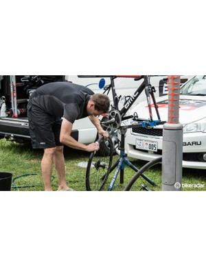 Every mechanic would clean the wheels and tyres with a sponge - once dry, the tyres are thoroughly checked for cuts and wear