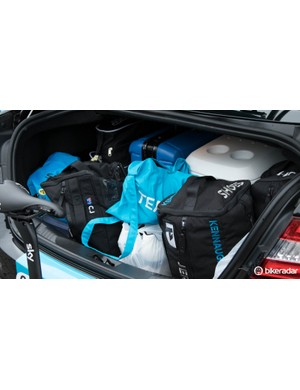 Team car boots are packed with spares for riders - Team Sky's was very well organised