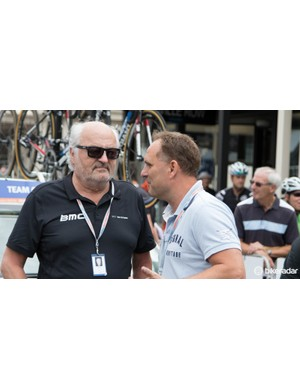 Andy Riis, the owner of BMC Bicycles is a common sight at the big races. He was likely in Australia to see Cadel Evans compete in his last stage race