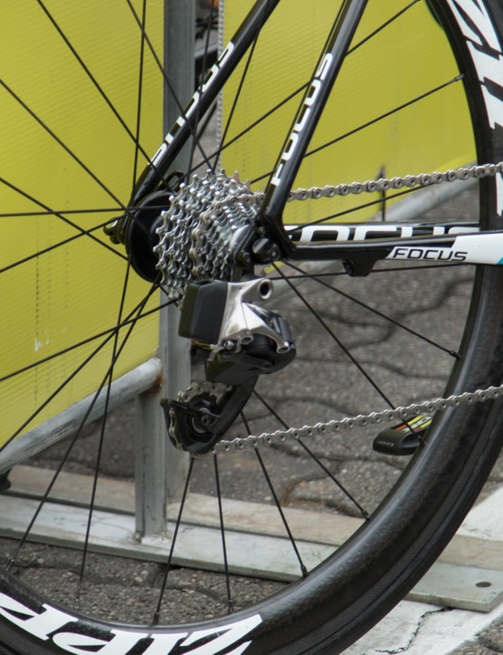 SRAM apparently wouldn't allow close access to the new components at the Tour Down Under. Zoom lens it is!