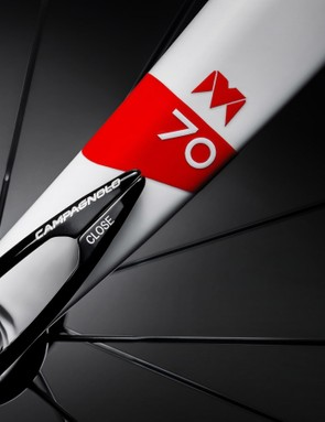 A carbon fork is painted to match, naturally