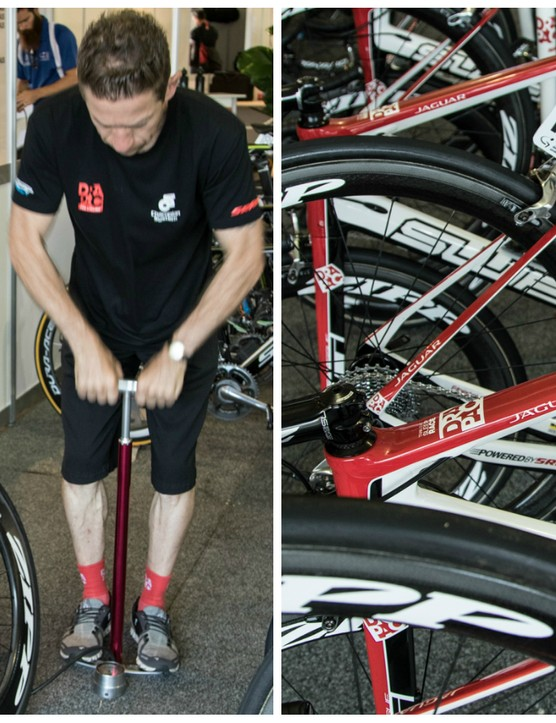 The day begins - Geisler inflates the tubulars of all bikes prior to leaving for the race start