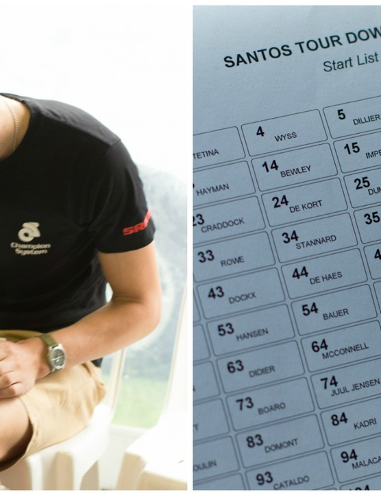 Drapac's Directeur Sportif Tom Southam works out the day's exact strategy prior to leaving for the race start of stage four. On the right is an example of the list that sits in the team car for quick reference from race radio announcements