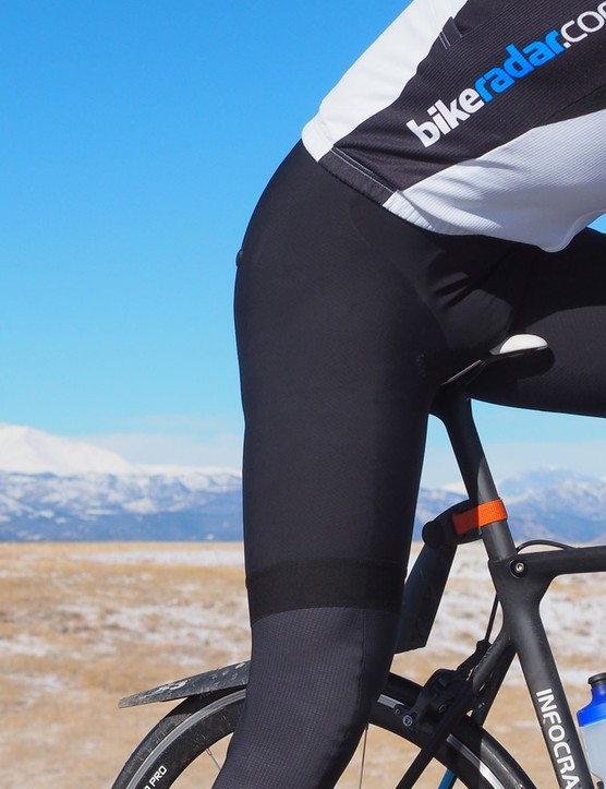 The Assos bibs are the warmest of the bunch, combing waffle thermal fabric on the legs with a windproof crotch panel