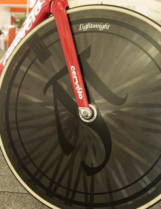 Lightweight Runkurs disc wheels front and rear make this one very high-end track bike