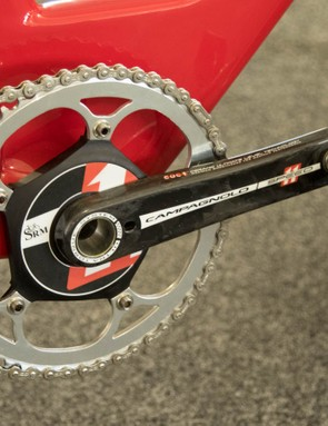 Riders aren't allowed to look at power or speed data during the world hour attempt, so this SRM crank is only being used for training