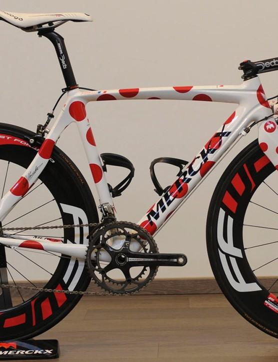 Jerome Pineau's polka dot themed EMX-5 bike from the 2010 Tour de France
