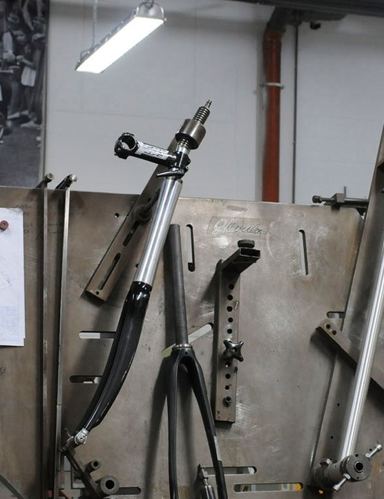 This jig is where every frame will be welded, with the big man looking on. This isn'the start of one of the EDDY70 frames, but an emergency aluminium frame order for a sponsored rider
