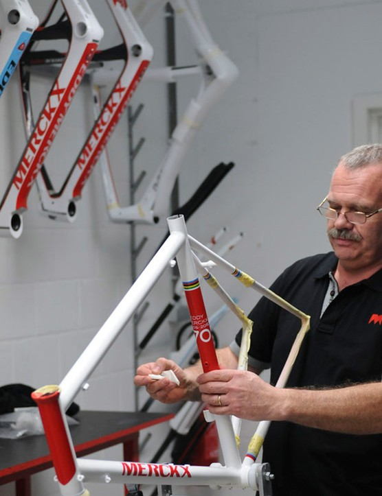 The frame colours mimic those of Merckx's Faema team bikes, which he raced through some of his most successful years