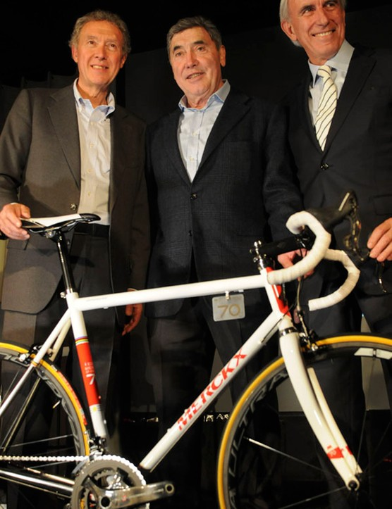 Eddy was joined on stage by Jan Toye of Eddy Merckx Cycles (EMC), and Valentino Campagnolo