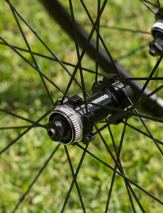 Shimano's Centerlock brake mount features on the RX31 too. Shimano recommends the use of 140mm Ice-Tech rotors, although the wheels can handle larger diameter models