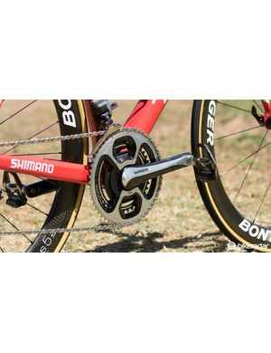 Trek Factory Racing are sponsored by SRM - here the team uses a SRM Shimano 11-speed crank