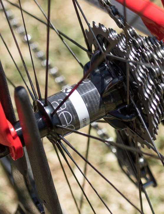 The Bontrager Aeolus 5 DR3 tubular wheels feature carbon-shelled hubs. The rear hub uses DT Swiss internals