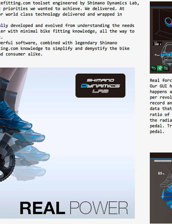 Shimano BikeFitting's Pedaling Analysis uses a dual-sided power meter to look at the 360-degree application of power, plus where on each pedal (l to r) the force is being applied