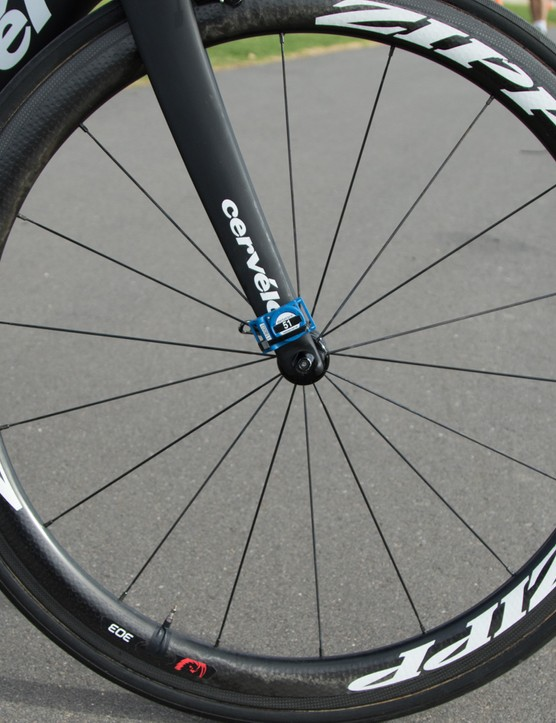 Cromwell was riding Zipp 303 Firecrest tubulars, but did mention the team has been testing the new Zipp 404 (Firestrike)