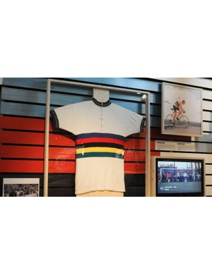 One of Merckx's 4 World Championship winning jerseys, and a shot of him climbing the Col du Galibier in 1975