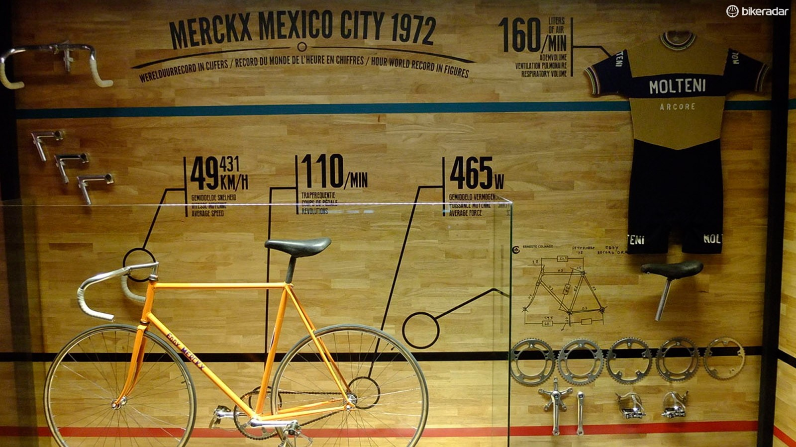 A display of Merckx's 1972 Hour Record machine, components, skinsuit, and some astonishing stats is just one piece of the Merckx-Ickx Expo