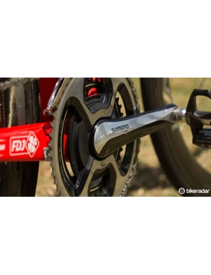 Power data is provided by a SRM Shimano 11-speed crank. A K-Edge chain catcher doubles as the magnet for the SRM