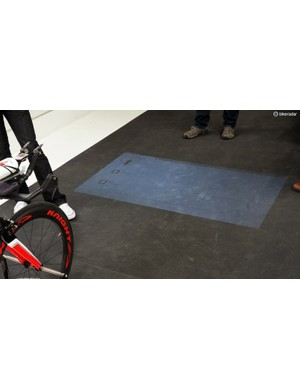 Riders get a live display projected on the floor right in front of them that shows wind speed, yaw angle, and real-time drag