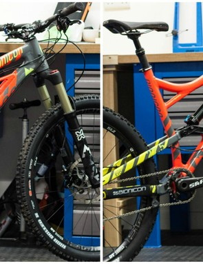 The Edison in climbing (L) and downhill (R) modes, notice the extension at the shock hardware, the angle change at the suspension linkage and the travel change at the fork