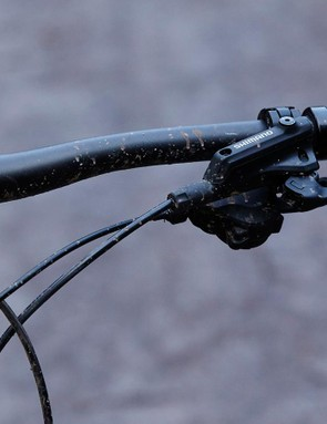 Shimano's I-Spec shifters and brake levers mount to a single clamp, giving the Latitude's handlebar a clean appearance