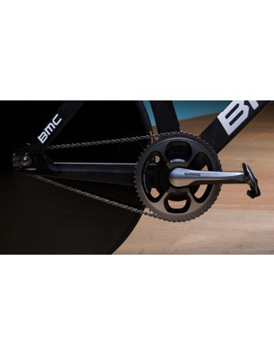 Custom track cogs were created so Dennis could stick with his SRM equipped Dura-Ace road crankset