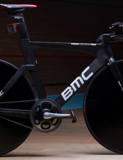 The BMC TrackMachine TR01 of Rohan Dennis - complete with custom-moulded front end and stiffness increases