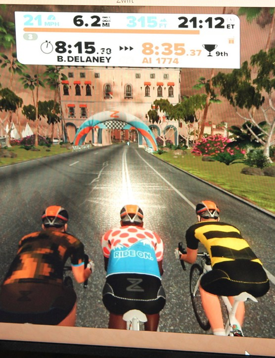 Zwift combines road racing themes with decidedly videogame inspired elements