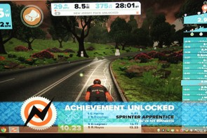 A number of 'achievements' pop up as you ride: the first time you complete 10 miles or hit a certain wattage, and so on