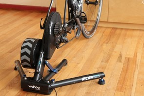 There are three types of ways to engage with the game: with a speed/cadence sensor, with a power meter, or with a smart trainer like this Wahoo Kickr