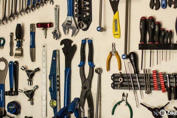 The board behind my workbench is kept for only the most commonly used tools — which can handle the vast majority of repairs