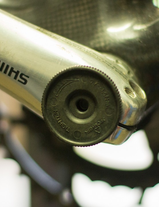 Modern Shimano cranks feature a plastic bearing preload cap that requires a specific tool. The Shimano TL-FC16 is a cheap option