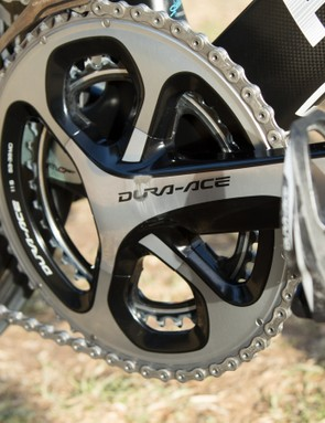 With power data provided by a left-arm mounted Stages Cycling unit, a standard Dura-Ace 9000 crank is used