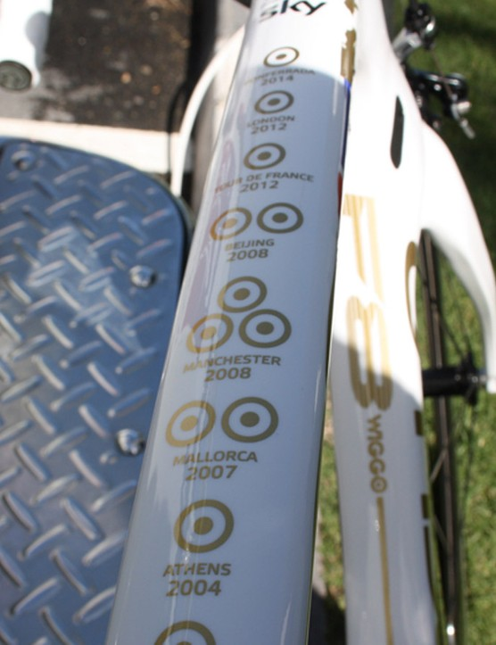 All of Wiggins' major wins are lined out on the bike's top tube