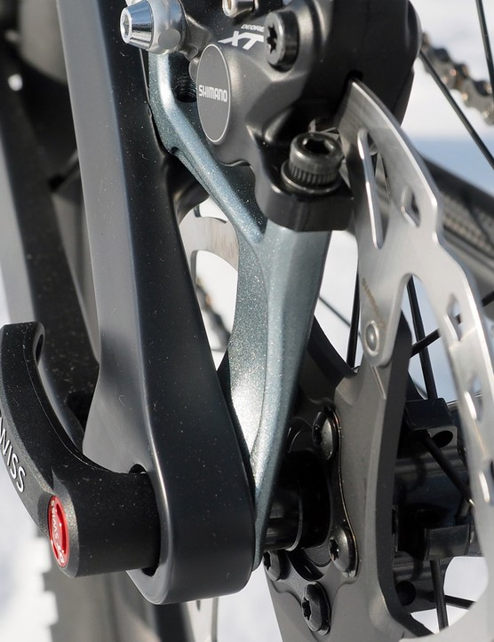 The 'Disconnect' brake mount attaches the rear brake caliper to a separate aluminum structure instead of bolting it to the frame itself. Ghost claims it saves weight but more importantly, it's replaceable in case of damage