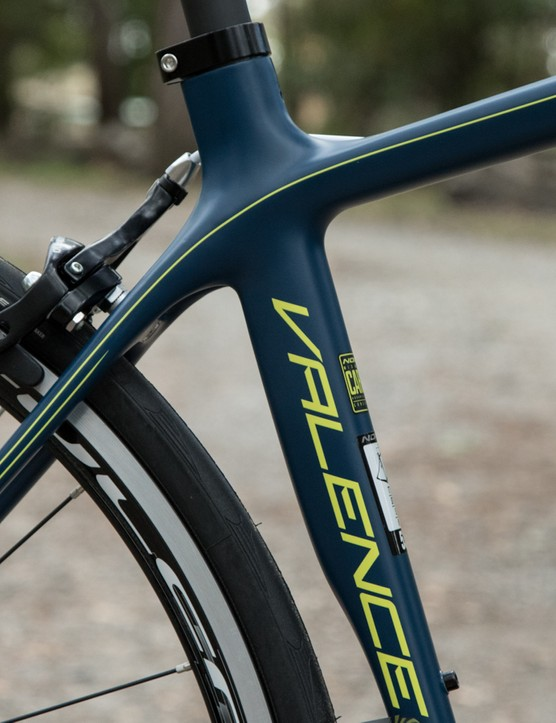 The new Valence frame has a few sharp angles to it, note the aero-profiled seat tube